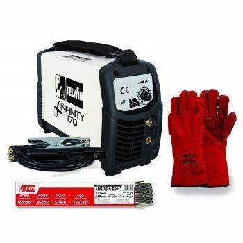 Foto - Saldatrice Inverter Telwin INFINITY 170 Kit Guanti + Elettrodi