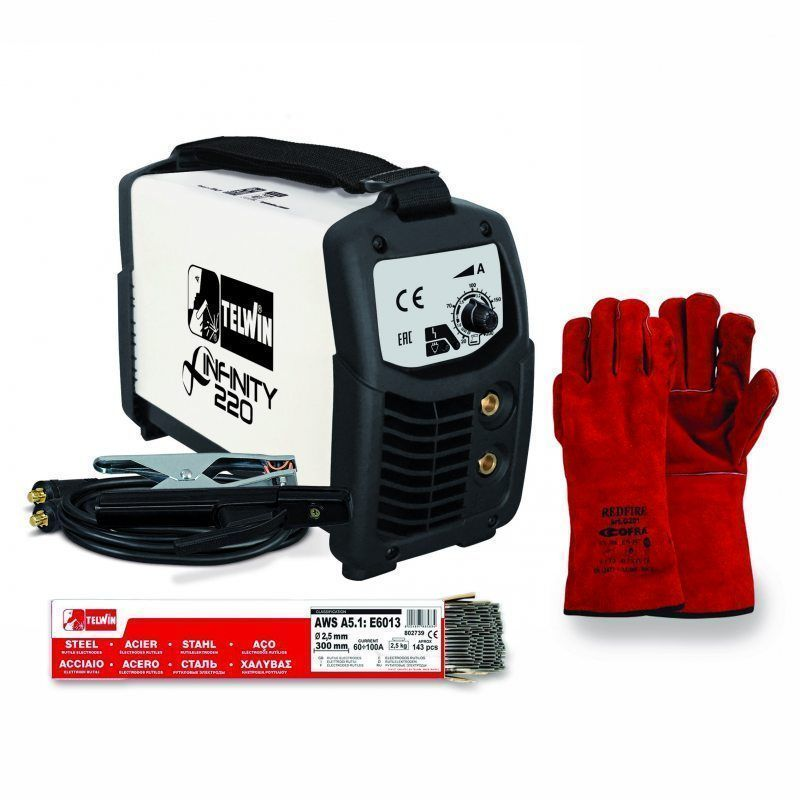 Foto principale Saldatrice Inverter Telwin INFINITY 220 Kit Guanti + Elettrodi