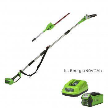 Foto - Tosasiepi/Potatore G40PSH con Kit Energia 40V 2Ah Greenworks
